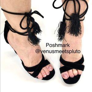 Joie Nadav Cross Strap Velvet Heels black platform